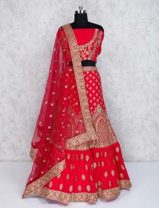 Magenta georgette semi stitched designer bridal lehenga choli