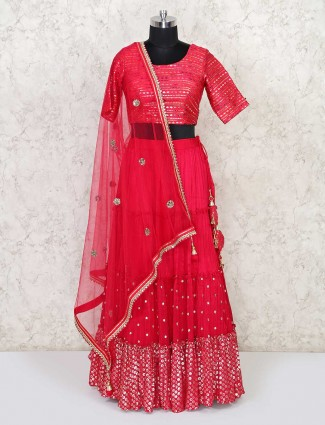 Magenta georgette wedding days lehenga choli