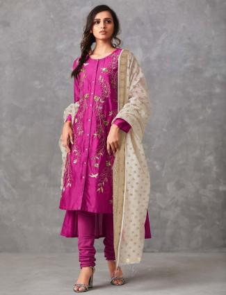 Magenta hue cotton punjabi salwar suit