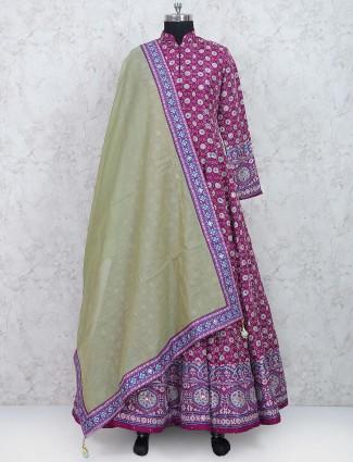 Magenta hue cotton silk anarkali suit