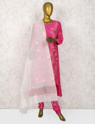 Magenta hue cotton silk fabric punjabi salwar suit