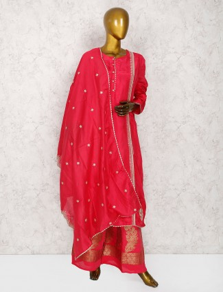 Magenta hue cotton silk punjabi palazzo suit