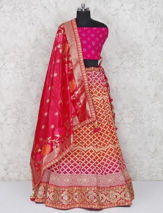 Magenta hue georgette semi stitched bridal lehenga choli