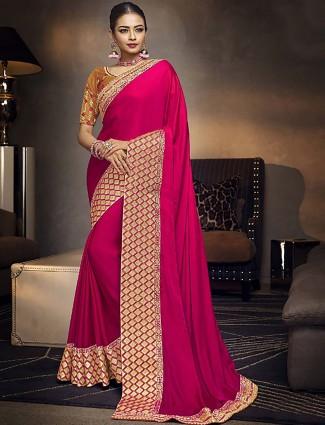 Magenta hue lovely satin fabric saree
