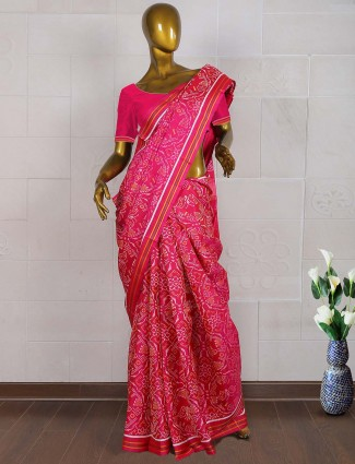 Magenta color wedding wear patola saree