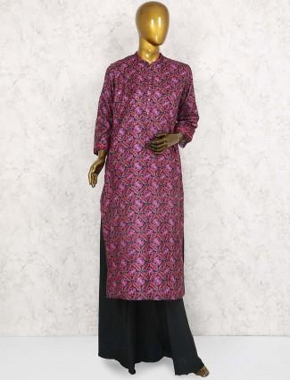 Magenta hue printed punjabi palazzo suit for festive
