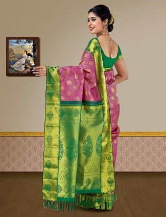 Magenta hue pure silk kanjivaram saree for wedding