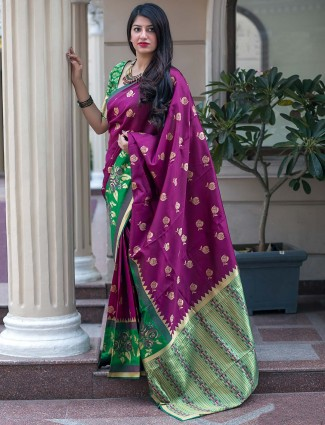 Purple hue saree in banarasi silk