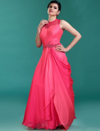 Magenta hue satin designer gown
