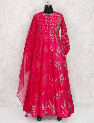 Magenta hue silk fabric floor length anarkali suit