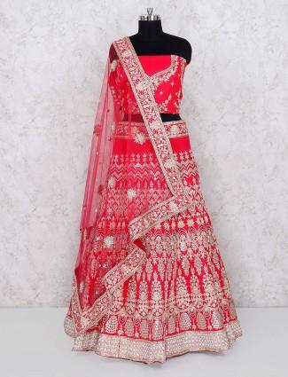 Magenta hued raw silk fabric semi stitched lehenga choli