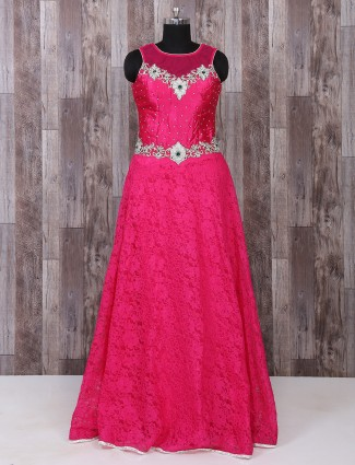 Magenta net fabric gown
