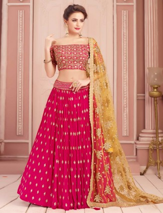 Magenta party wear lehenga choli in georgette
