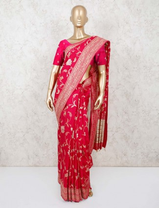 Magenta pink munga silk saree with thread weaving