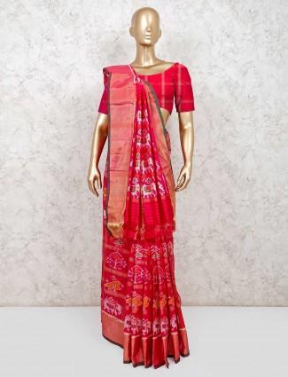 Magenta reception wear saree in hydrabadi patola silk