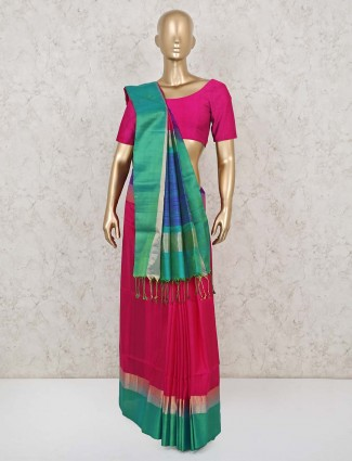 Magenta saree for festive in south pure silk