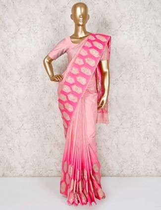 Magenta semi silk festive funtion saree