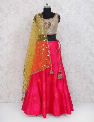 Magenta silk fabric festive wear lehenga choli