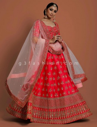 Magenta silk wedding or bridal lehenga choli