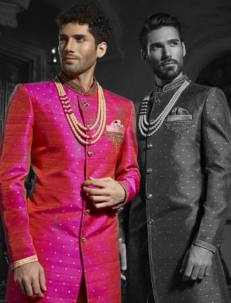 Magenta silk wedding wear alluring indo western