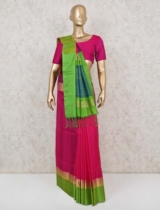 Magenta south pure silk saree for reception function