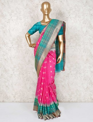 Magenta thread zari weaving semi silk saree