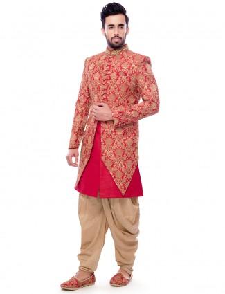 Magenta two piece silk indo western