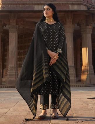 Magestic black cotton punjabi pant suit