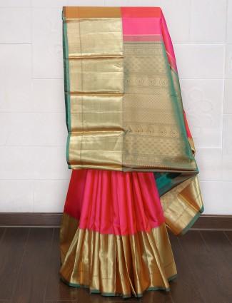 Magneta and gold kanjivaram silk saree