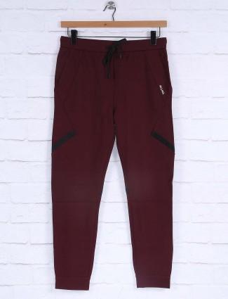 Maml maroon slim fit solid track pant