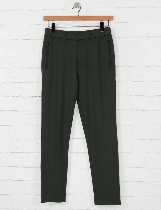 Maml olive colored cotton night track pant