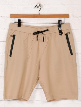 Maml solid beige cotton shorts