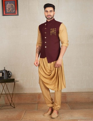 Maroon and beige colored solid waistcoat set