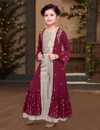 Maroon and beige georgette party indo western sharara suit