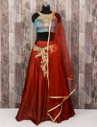 Maroon and blue silk lehnega choli