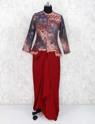 Maroon and grey cotton silk punjabi indowestern suit