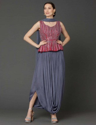 Maroon and grey peplum style dhoti suit in raw silk