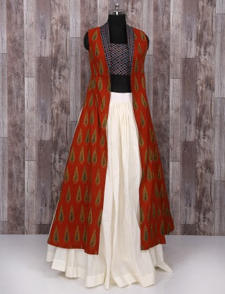 Maroon and white cotton lehenga choli