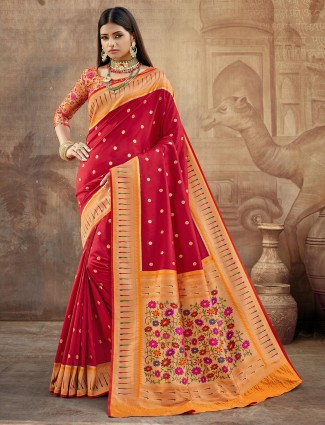 Maroon banarasi paithani silk for wedding occasions