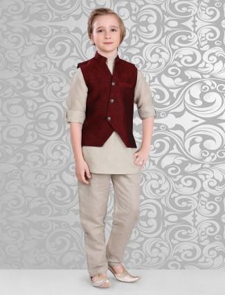 Maroon beige waistcoat set