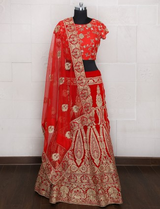 Maroon bridal unstitched wedding silk lehenga choli