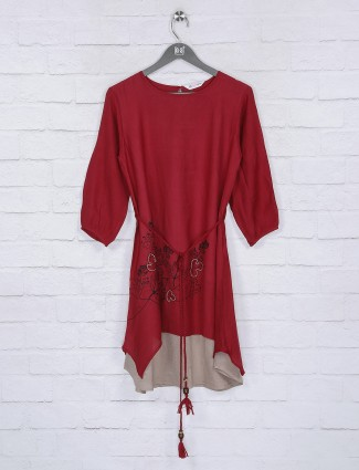 Maroon casual cotton fabric top
