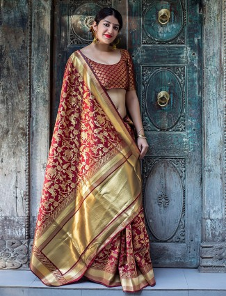 Maroon color banarasi silk saree