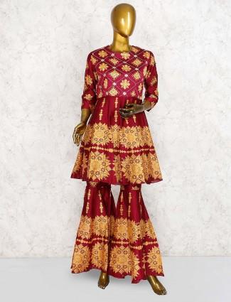 Maroon color cotton silk printed pakistani punjabi sharara suit