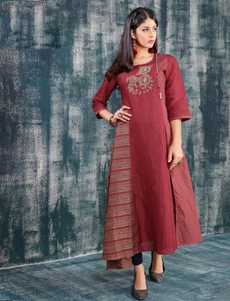 Maroon color long kurti in cotton fabric
