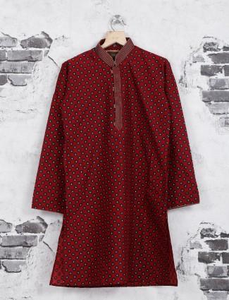 Maroon color printed kurta suit