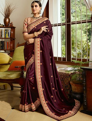 Maroon color saree in semi silk fabric