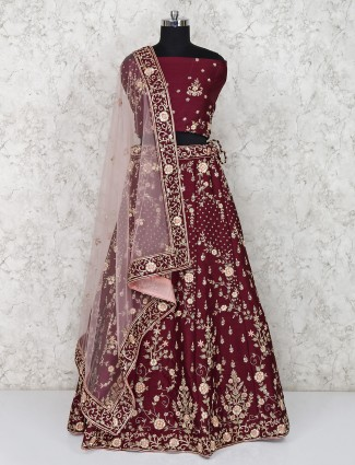 Maroon color semi stitched raw silk bridal lehenga choli