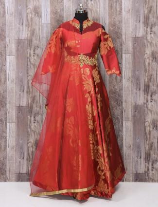 Maroon color silk wedding wear anarkali suit