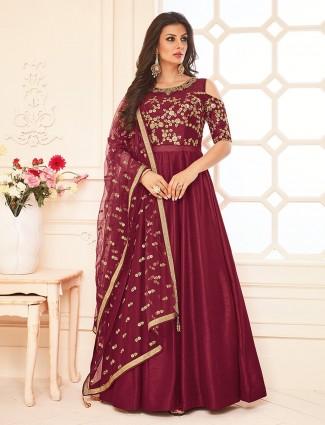 Maroon color silk wedding wonderful anarkali suit